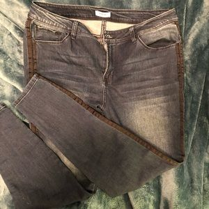 Dark Blue Kensie Jeans with Black Stripe